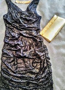 NWT EXPRESS BLACK GOLD LACE DRESS 4